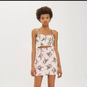 Topshop Pink Floral Daisy Skirt